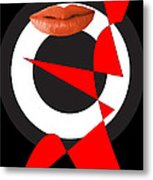 Sexy Lips Black  Red White Black Expressions  Metal Print