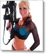 Sexy Woman Holding An Ar15 Metal Print