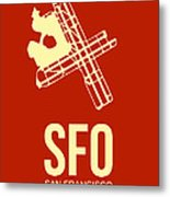 Sfo San Francisco Airport Poster 2 Metal Print