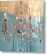 Shabby Chic Cottage Sparkling White Crystal Chandelier Photo - Dreamy Parisian Crystal Chandelier  Metal Print