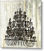 Shabby Chic Rustic Black Chandelier On White Washed Wood Metal Print