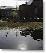 Shack And House Along With Weeds Right On Shore Of Dal Lake Metal Print