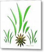 Shades Of Green Leaves And Green Flower Design Metal Print