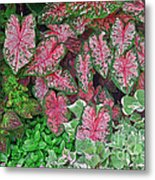 Shades Of Pink And Green And A Hint Of Purple Metal Print