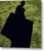 Shadow Carrying Art Portfolio And Drinking A Soda Metal Print