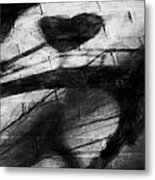 Shadow Heart Rough Charcoal Metal Print