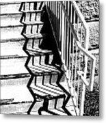 Shadow Of Handrail Metal Print