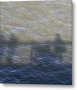 Shadow Of People Standing On The Bridge Over The River Main In Frankfurt Am Main Germany Metal Print