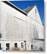 Shadow On White Barn Metal Print