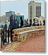 Shadow Representations Of People Coming To The Port In Donkin Reserve In Port Elizabeth-south Africa   Metal Print