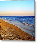 Shadows On Sand Beach Metal Print