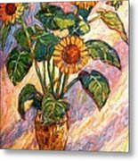 Shadows On Sunflowers Metal Print