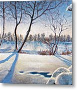 Shadows On The Snow Metal Print