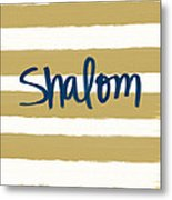 Shalom- Blue With Gold Metal Print