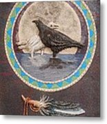 Shaman Black Raven And His Mate Medicine Woman Blue Fairy Animal Spirit Medicine Wheel Metal Print
