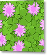 Shamrock Paper Cutting Clover Flowers Background Metal Print