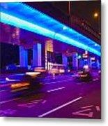 Shanghai Street At Night Metal Print