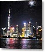 Shanghai Tower With Full Moon Night  China  Metal Print