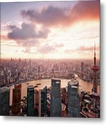 Shanghai With Drifting Clouds Metal Print