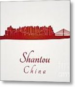 Shantou Skyline In Red Metal Print