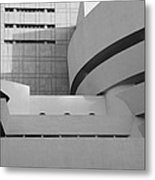 Shapes Of The Guggenheim In Black And White Metal Print