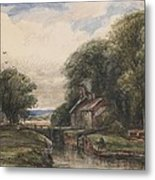 Shardlow Lock With The Lock Keepers Cottage Metal Print