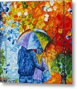 Sharing Love On A Rainy Evening Original Palette Knife Painting Metal Print