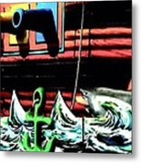 Shark And Pirate Ship Pop Art Posterized Photo Metal Print
