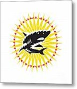 Shark Swimming Up Sunburst Woodcut Metal Print