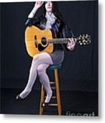 Sharon With Guitar Metal Print