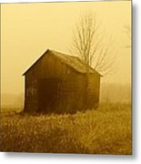 Shed In Field  Metal Print by Michael L Kimble