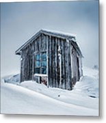 Shed In The Blizzard Metal Print