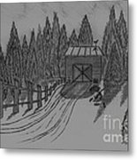 Shed In The Snow Metal Print