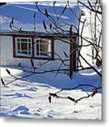 Shed In Winter Metal Print