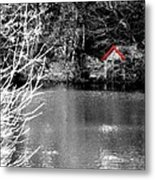 Shed On The Lake Metal Print