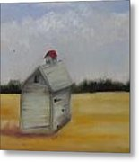 Shed On Yellow Field Metal Print