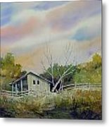 Shed With A Rail Fence Metal Print by Sam Sidders