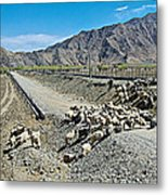 Sheep Crossing The Road To Shigatse-tibet  Metal Print
