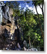 Sheer Cliff With Waterfall Metal Print