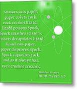 Sheldon Cooper - Rock Paper Scissors Lizard And Spock Metal Print