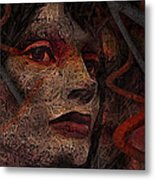 Shell Cyborg Portrait Metal Print