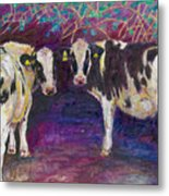Sheltering Cows Metal Print