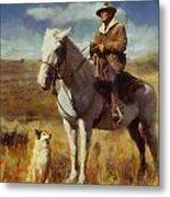 Shepherd And His Dog Metal Print