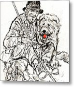 Shepherd With Dog Metal Print