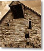 Shingle Barn Sepia 1 Metal Print