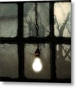Lit Light Bulb Shines In Old Window Metal Print