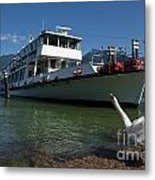 Ship And Swan Metal Print