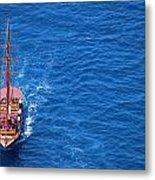 Ship By The Meditteranean Sea Metal Print