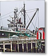 Ship Docked In Lunenburg-ns Metal Print