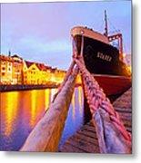 Ship In Harbor Metal Print
